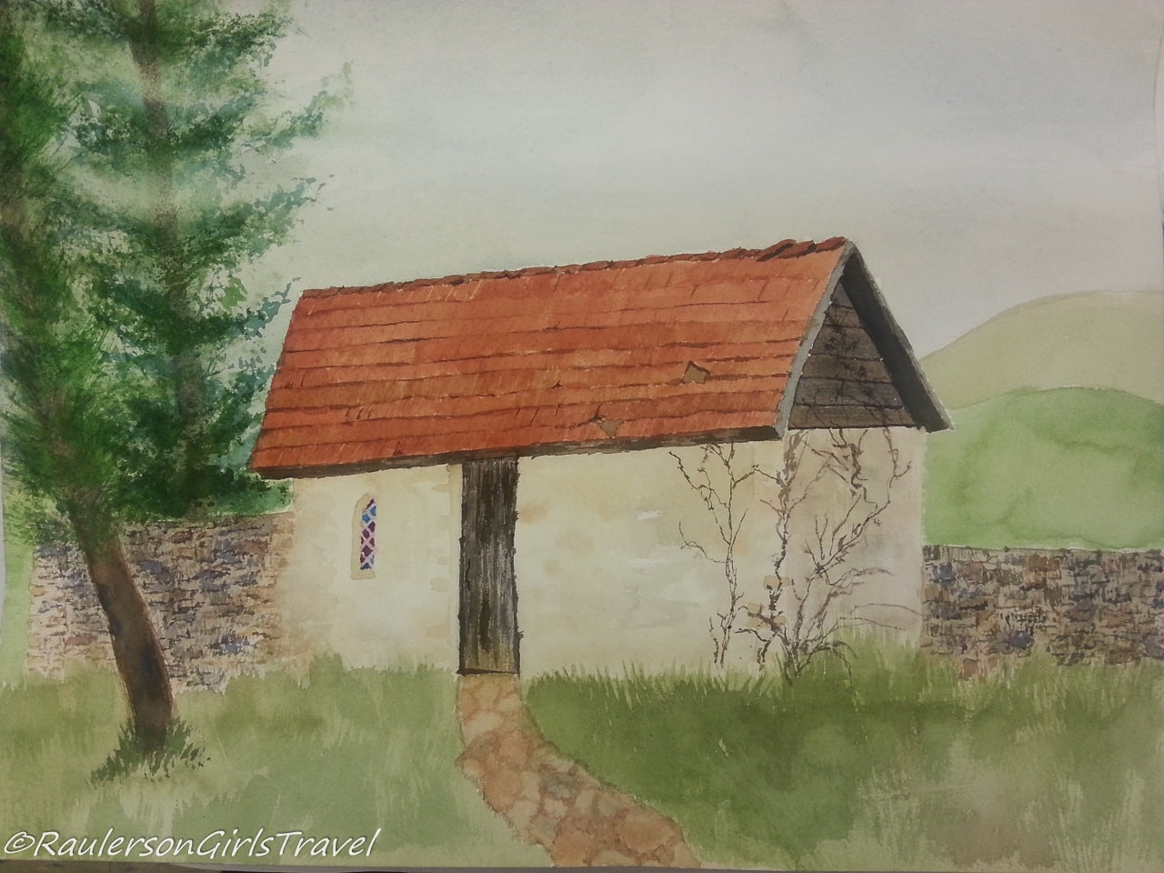 Watercolor painting of the Gatehouse on the Powell Farm