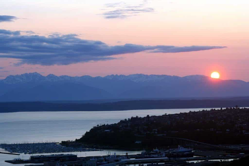 Sunset over the Olympic Mountain Range