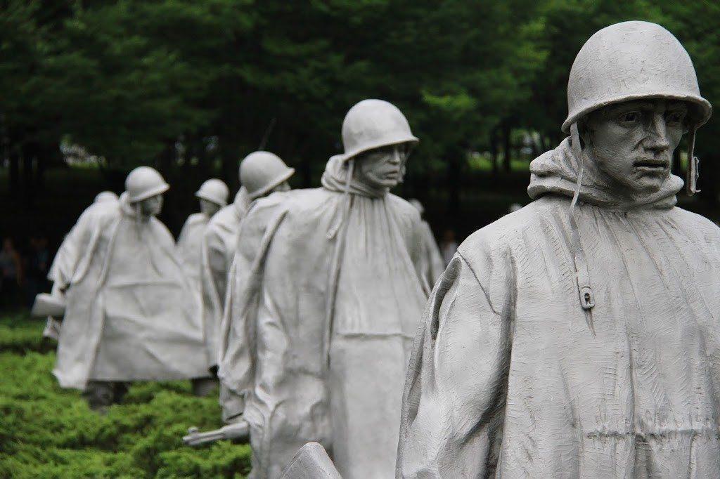 Close up view of the Korean War Memorial