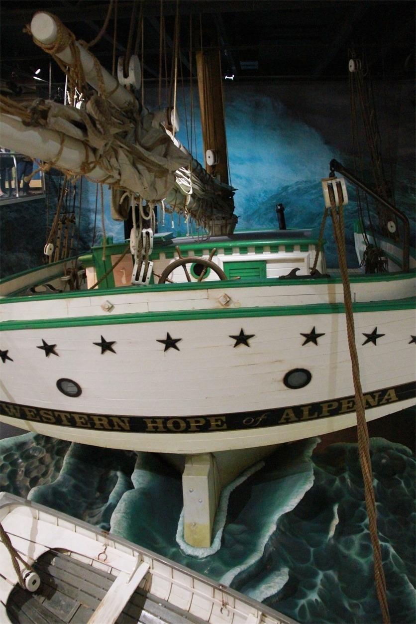 Replica Sailing Boat in Alpena Shipwreck Tours building