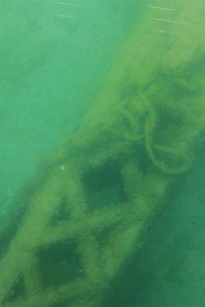 Underwater rope and metal hoist in Thunder Bay