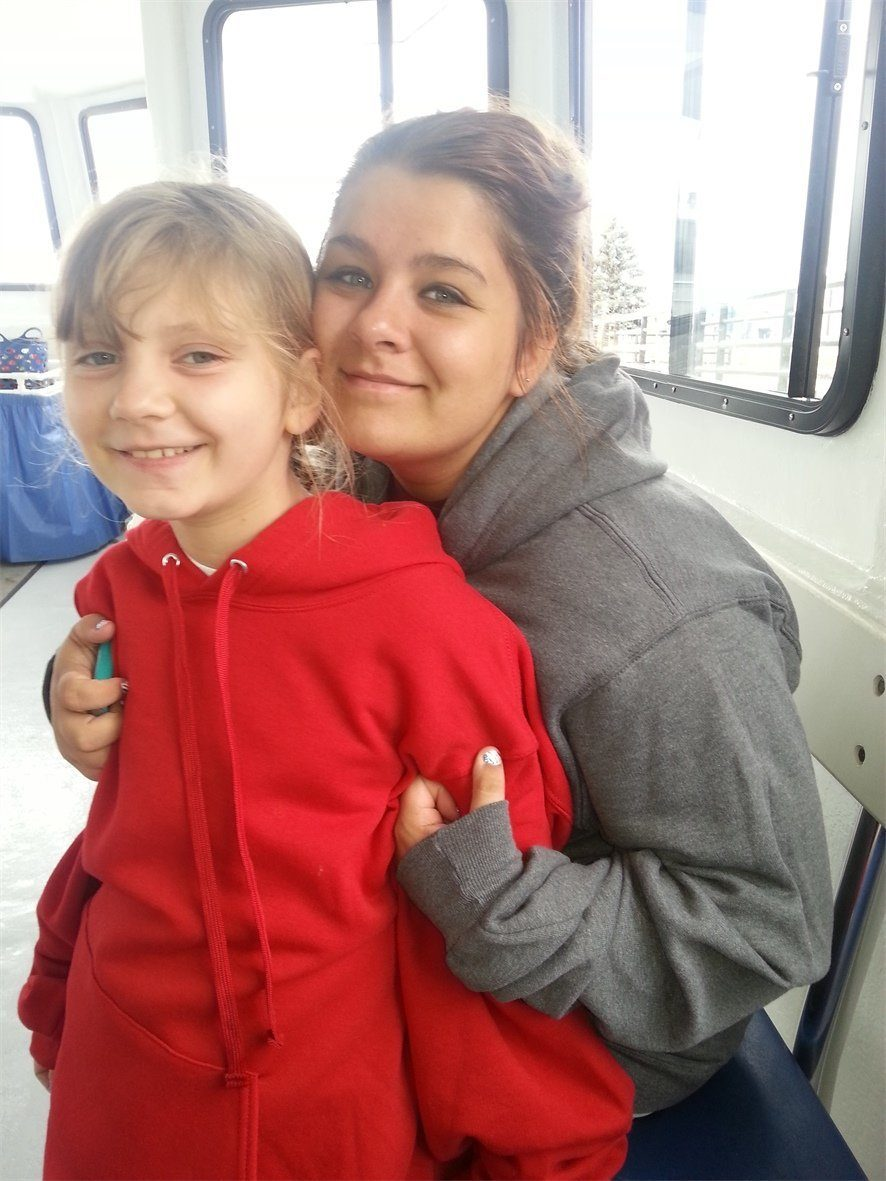 Madison and Kayla on the Shipwreck Boat Tour in Alpena Michigan