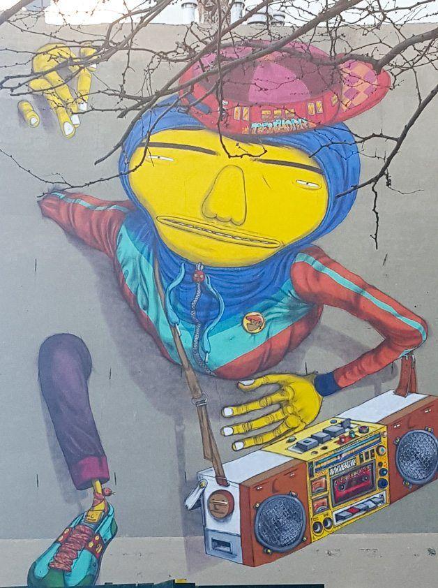 Boy with juke box street art