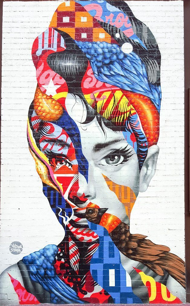 Colorful woman's face street art