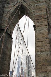 One World Trade Center framed by Brooklyn Bridge