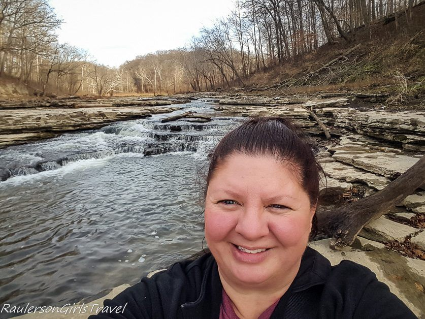 Selfie view of Lower Cataract Falls in Indiana
