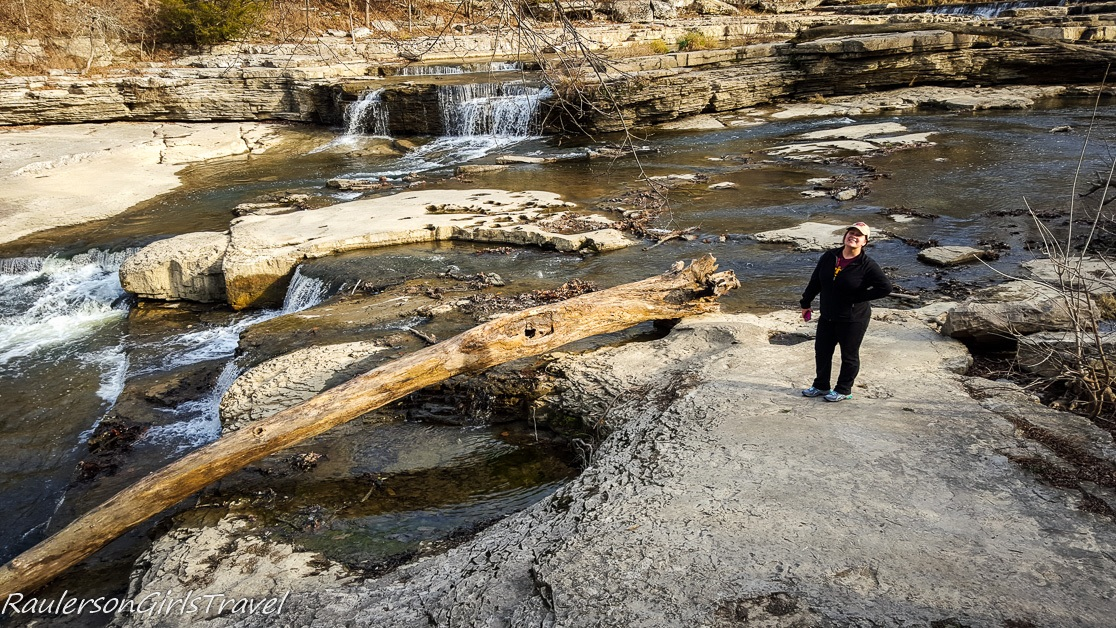 Kayla exploring Upper Cataract Falls in Indiana