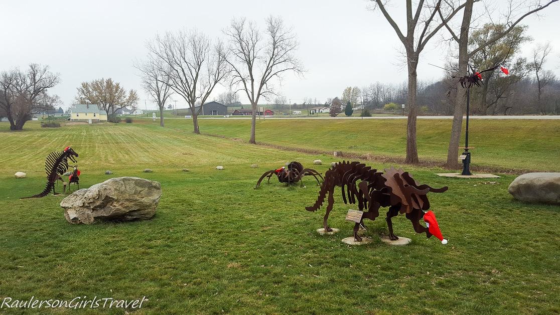 Metal dinosaur statues at Dinosaur Farm in Coloma, Michigan