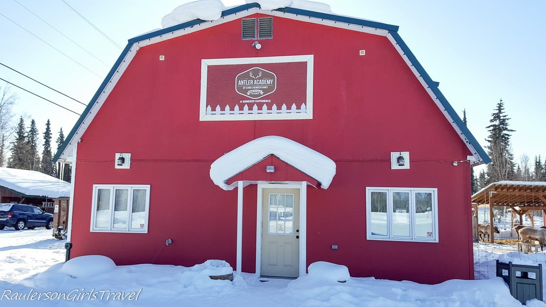 Red barn of the Antler Academy in North Pole, Alaska
