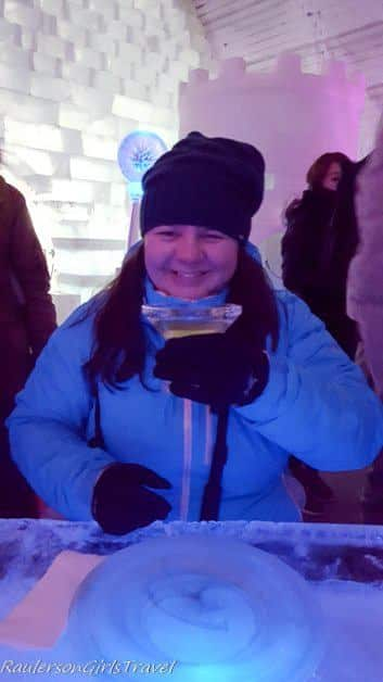 Heather Raulerson drinking an Appletini in the Aurora Ice Museum - Chena Hot Springs Resort