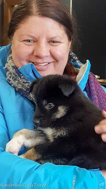 Me holding black puppy with white feet