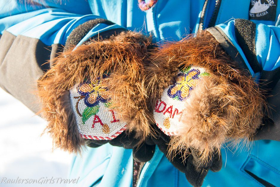 Ai Adams decorated Beaver gloves with beading