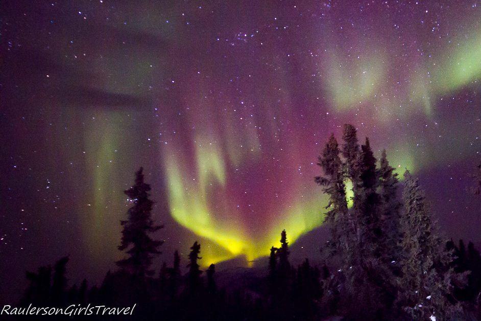 Purple and yellow Northern Lights