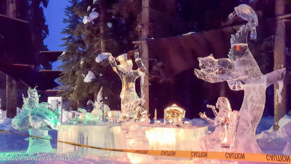 Alice and the Mad Hatter Tea Party Ice Sculpture