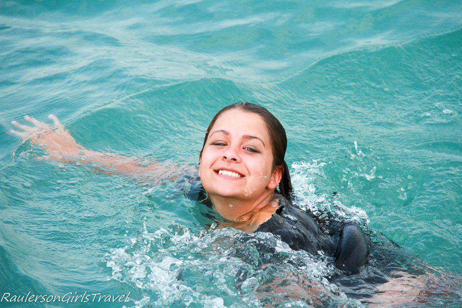 Kayla swimming in Lake St. Clair