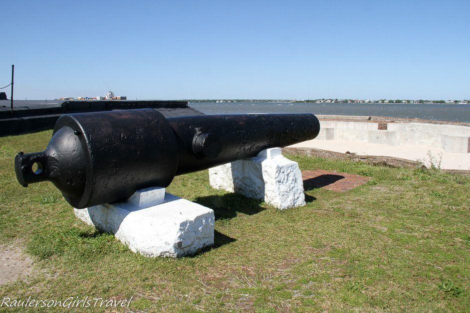 Parrott guns on right face of Fort Sumter