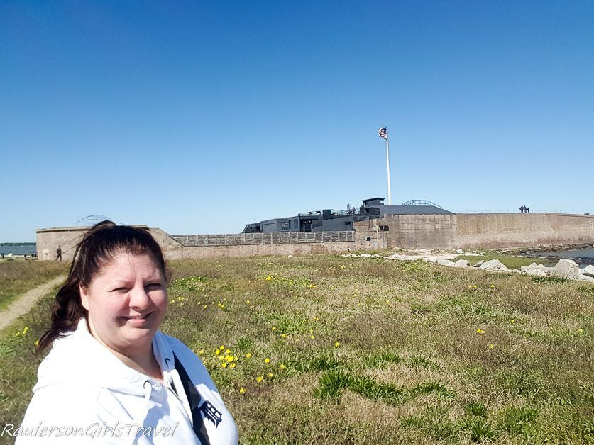 Heather Raulerson standing where Sally Port was at Fort Sumter