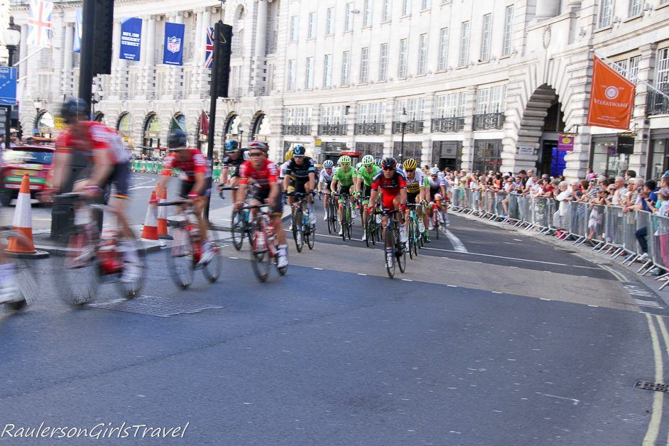 Tour of Britain bike race through London, England