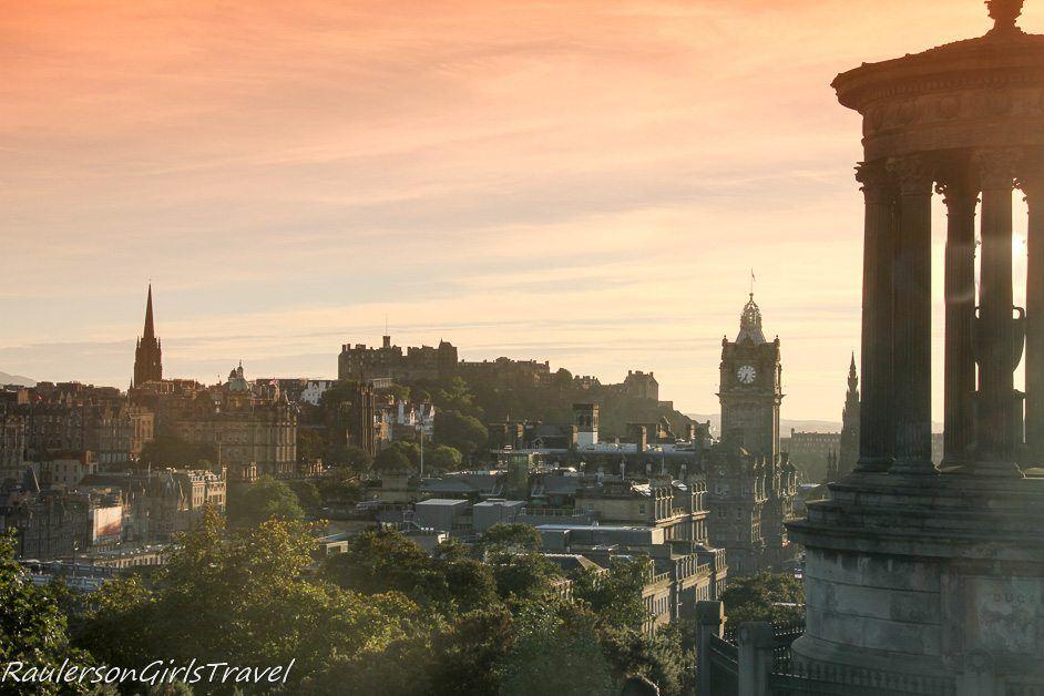 Edinburgh City skyline at sunset