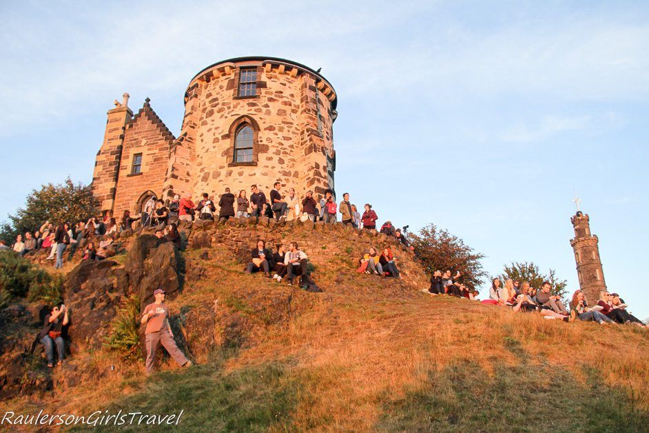 Photographing the sunset on Calton Hill in Edinburgh
