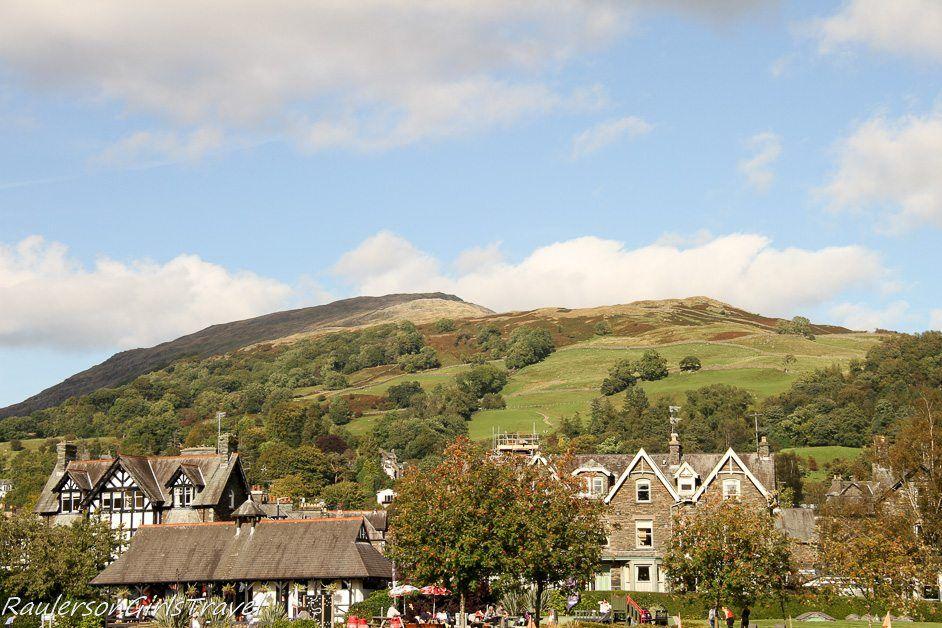 Ambleside nestled next to mountains in Lake District, England