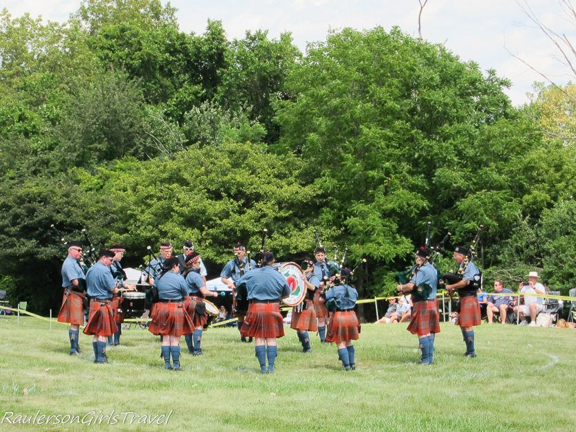 Pipes and Drums performing at the Highland Games