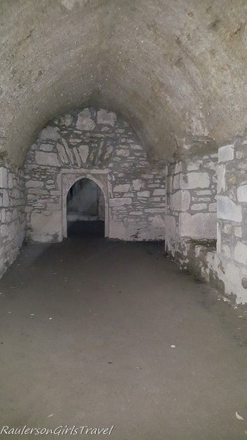 Inside Muckross Abbey with streaks of light on photos