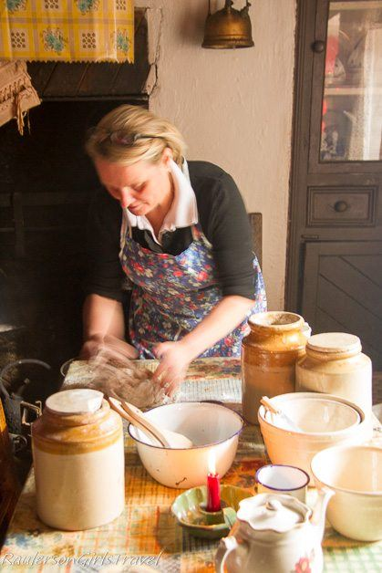 Frances making traditional Soda Bread at Molly Gallivan's