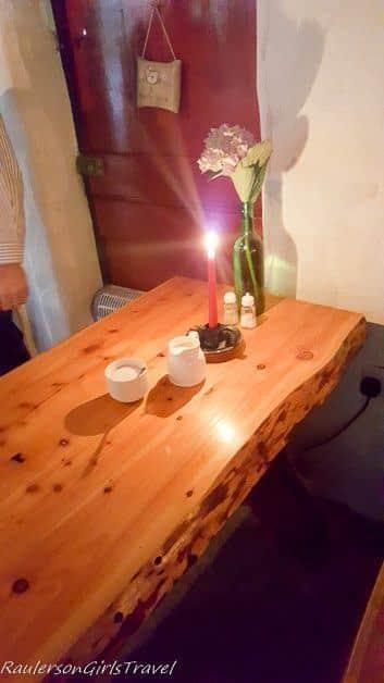 Wood Table in Molly Gallivan's Barn Restaurant
