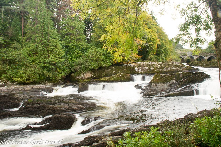 Stone bridge over River Sheen and Sheen Falls at Sheen Falls Lodge