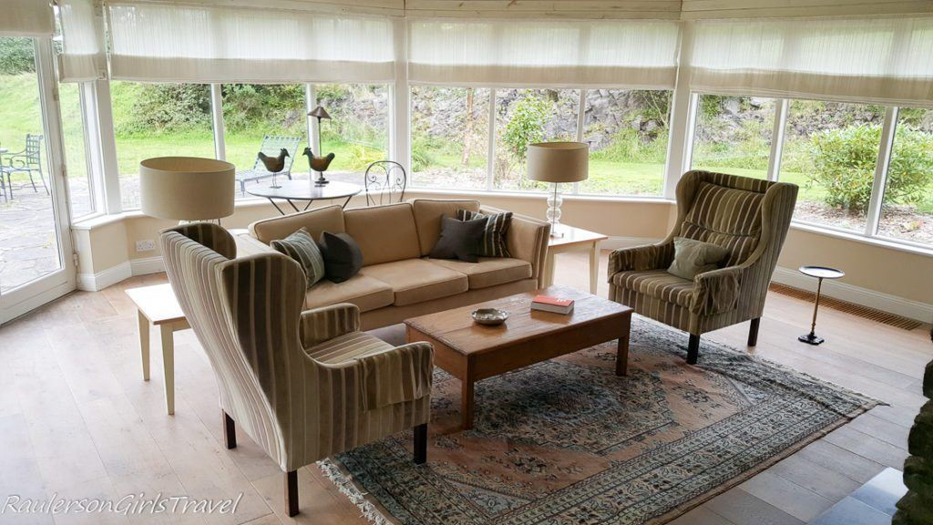 Living room in Marianne's Cottage at Sheen Falls Lodge