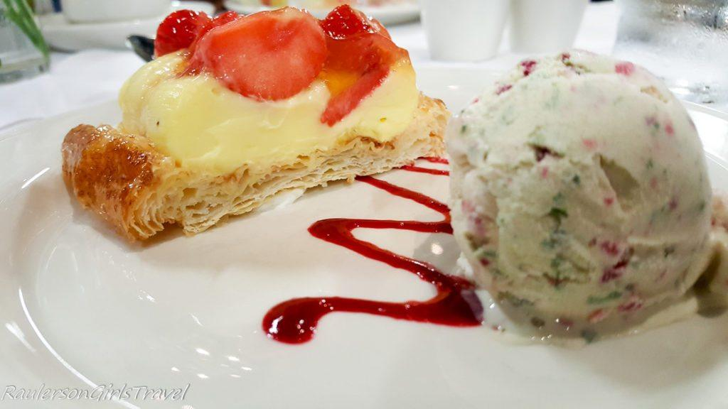 Mini Strawberry Mille Feuille with Raspberry and Basil Ice Cream dessert at The Gleneagle TBEX Ireland