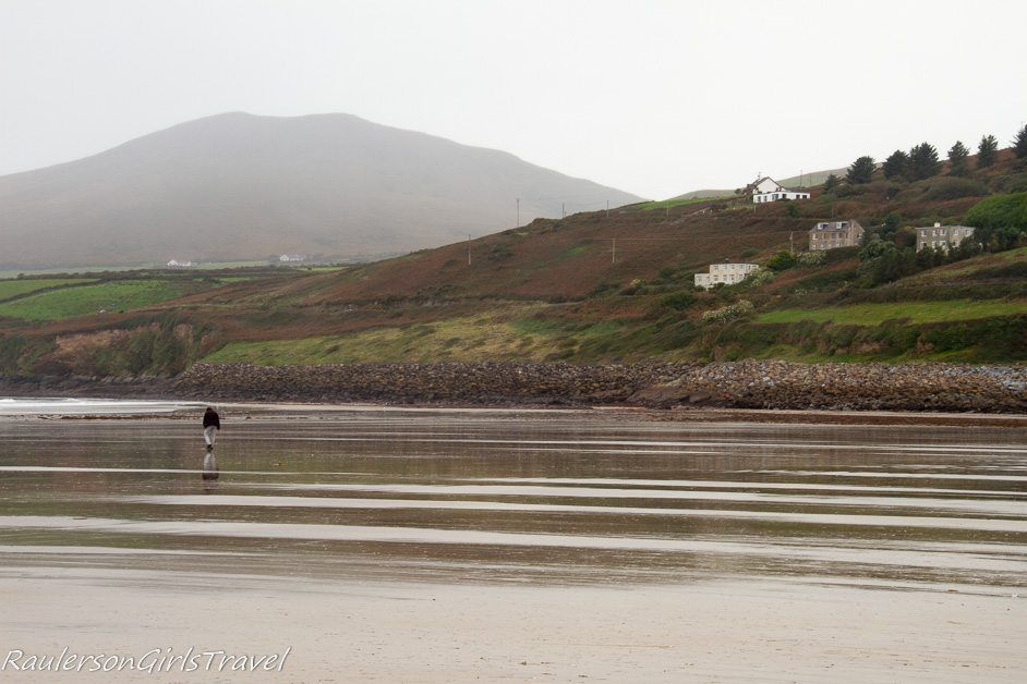 Walking on the sand at Inch Beach Ireland