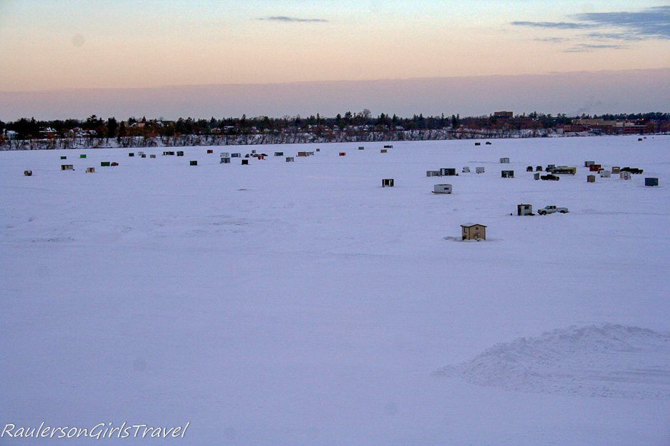 Ice Shanties on the Mississippi River in Bemidji, Minnesota
