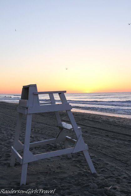 Lifeguard chair on Myrtle Beach at Sunrise - First Impressions of Myrtle Beach