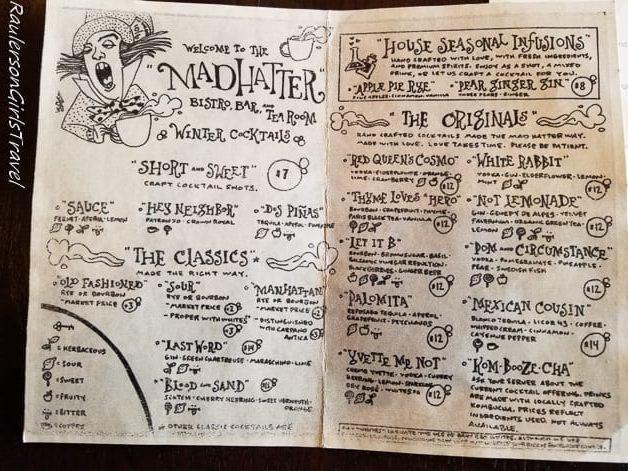 Cocktail Drinks menu at Mad Hatter Bistro