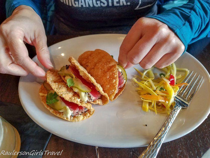 tuna wonton taco appetizer at Mad Hatter Bistro