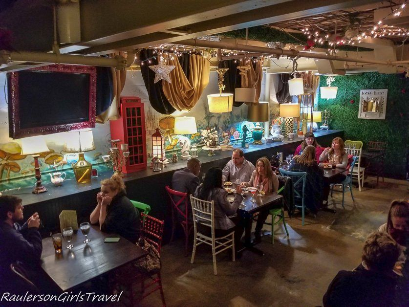 Inside view of the downstairs eating area of the Mad Hatter Bistro