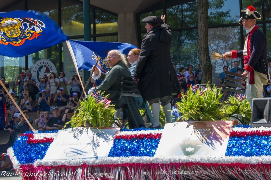 Benjamin Franklin on a float in the Independence Day Parade in Philadelphia