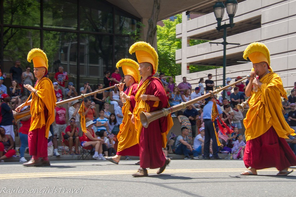 Participants in the Philly Independence Day Parade monks