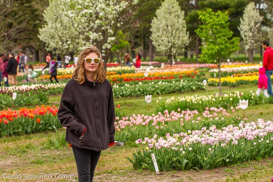 Madison walking around the tulips at Holland Tulip Festival