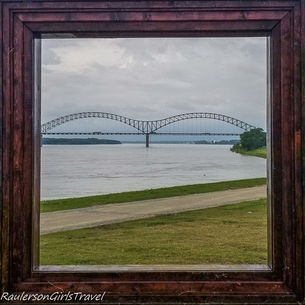 beale street landing picture frame of Hernando de Soto Bridge - unique things to do in Memphis