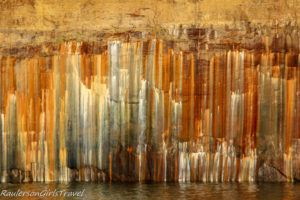 Limonite mineral stains on Pictured Rocks
