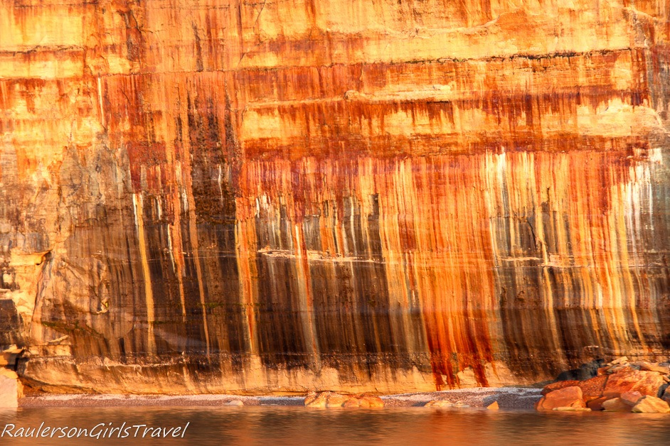 Mineral stains on Pictured Rocks