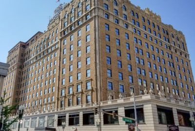 The exterior of the Peabody Hotel