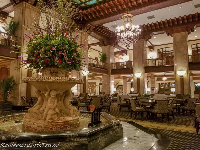 The lobby in the Peabody Hotel