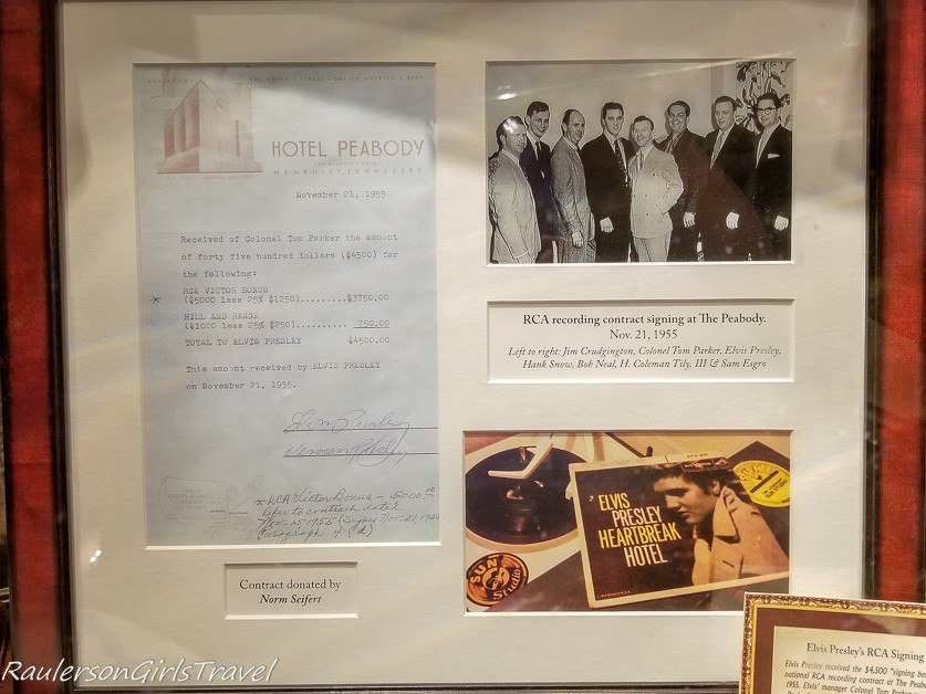 Elvis Presley's RCA recording contract signed at the Peabody Hotel - History at the Peabody Hotel