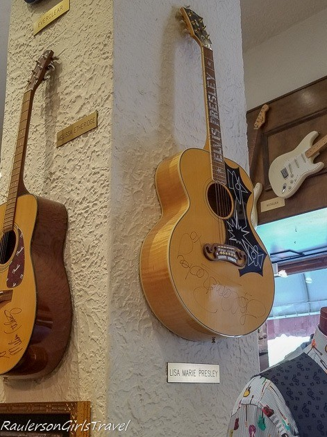 Elvis Presley's guitar signed by Lisa Marie Presley at Lanksy's - History at the Peabody Hotel