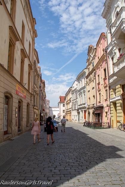 Walking along streets in Pardubice