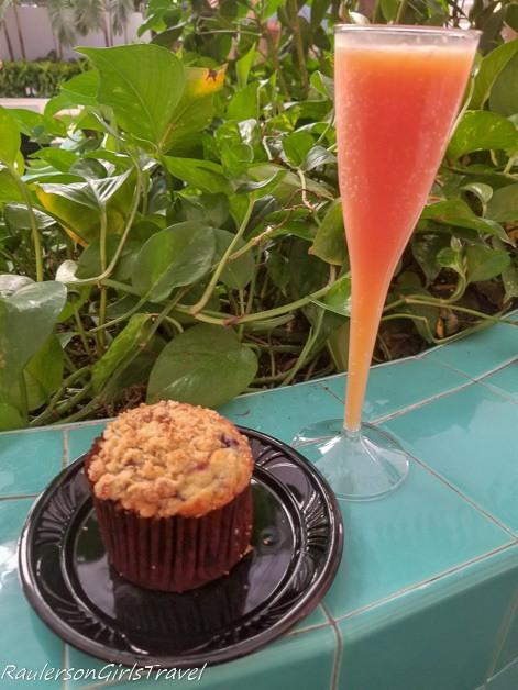 Blood Orange Mimosa and Jumbo Blueberry Muffin